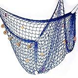 Hogar y Mas Red de Pesca Decorativa Grande XXL Azul con Conchas, Grande 400x200 cm. Decoración Pared Marinera/Naútica.