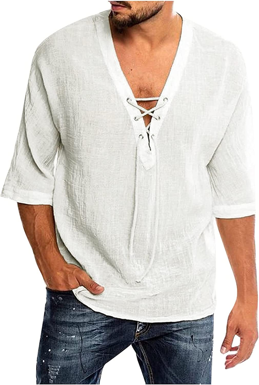 BEUU Cotton Linen Casual Shirts for Mens, Summer Men's Drawstring Lace-up Tie V Neck Henley Half Sleeve Beach Fall Tops