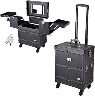 AW Pro 4 360-degreed wheels Rolling Makeup Case Artist Beauty Train Case Trolley Cosmetic Organizer Box Handle Mirror