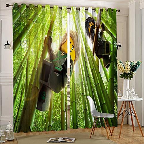 DONEECKL Verdunkelungsvorhänge mit Ninjago-Filmdruck für Fenstervorhänge, Volants, B 137 x L 160 cm, Ösen oben