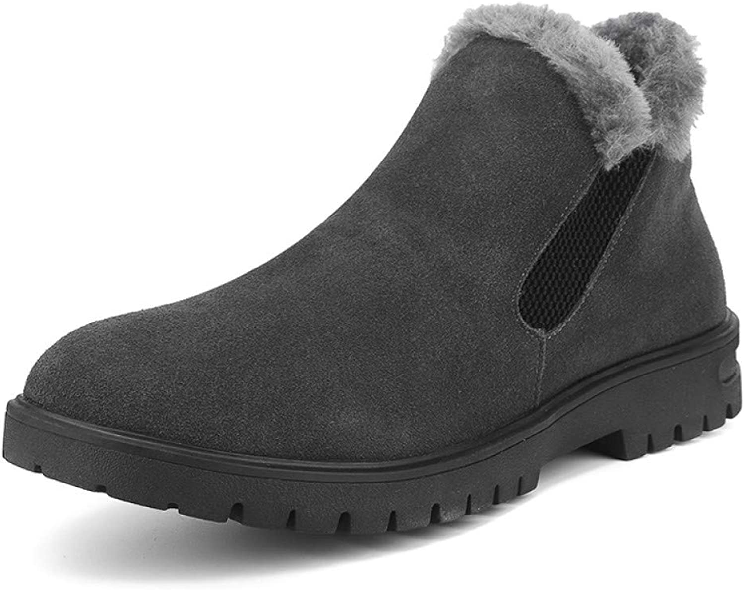 9a2c4520e FHCGMX Snow Boots Men shoes Faux Suede Winter shoes shoes shoes Men Boots  Elastic Slip On Casual Motorcycle Ankle Booties 39-44 92069f
