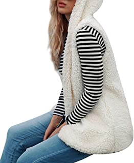 Women Faux Fur Hoodies Cardigan Vest Fashion Solid Long Sleeve Open Front Loose Long Cardigan Outwear Coat Daorokanduhp