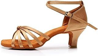 HROYL Women Satin Ballroom Dance Shoes Latin Salsa Performance Dance Shoes LP-217