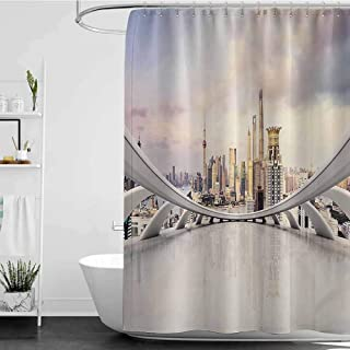 shower curtains gray and beige Wanderlust Decor Collection,Modern City Skyline Traffic and Cityscape in Shanghai China Cloudscape Commercial Image,White W72