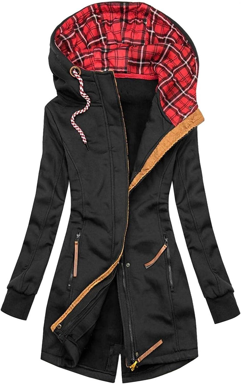 YUNDAN Womens Oversized Hoodies Jackets Casual Cowl Neck Zip Drawstring Outdoor Warm Windbreaker Trench Coat Outwear