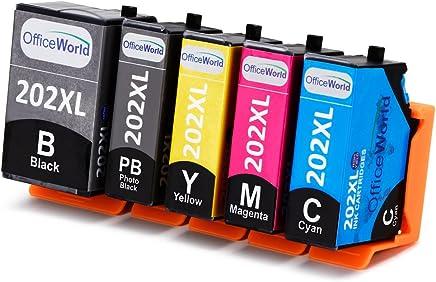 OfficeWorld 202 XL Compatibile Epson 202XL Cartucce d'inchiostro Alta Capacità Compatibile per Epson Expression Premium XP-6000 XP-6005 XP-6100 XP-6105 (1 Nero,1 Nero Foto,1 Ciano,1 Magenta,1 Giallo)