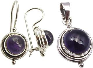 SilverStarJewel 925 Solid Silver Natural AMETHYST Oxidized Earrings Pendant Jewelry Sets Women