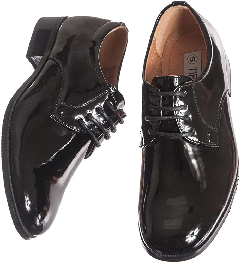 Boys Shiny Black Free shipping anywhere in the nation Tuxedo Shoes Round Purchase Toe in Infant Style to