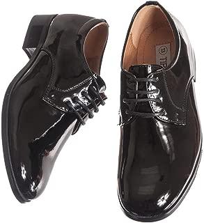 Boys Shiny Black Tuxedo Shoes, Round Toe Style in Infant to Boys Sizes