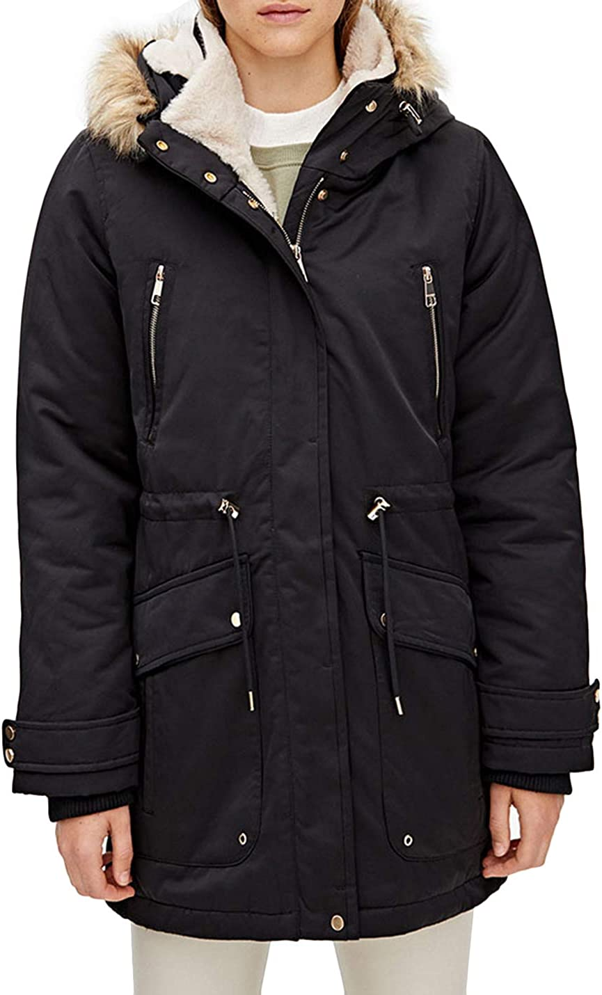 HaoMay Women's Thick Sherpa Lined Hooded Parkas Mid Long Jacket Windbreakers