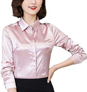 180d068b3a445 YOUMU Women Satin Silk Long Sleeve Button-Down Shirt Formal Work Silky  Blouse Top Black