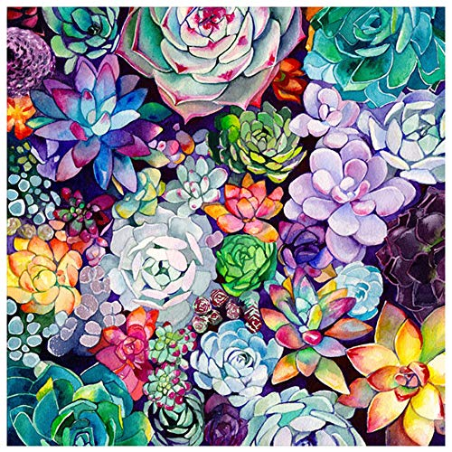 DIY 5D Diamond Painting Kits for Adults,Round Full Drill-Crystal Rhinestone Embroidery Cross Stitch,Mosaic Making Colorful Succulents Diamond Art,Home Decor 13.8'X13.8'