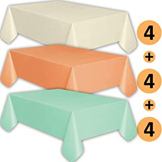12 Plastic Tablecloths - Ivory, Peach, Mint - Premium Thickness Disposable Table Cover, 108 x 54 Inch, 4 Each Color
