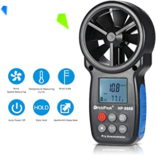 KKmoon Wind Speed Tester, 866B Digital Anemometer Handheld Wind Speed Meter for Measuring Wind Speed, Temperature and Wind Chill with Backlight and Max/Min
