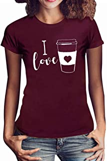 SADUORHAPPY Shirt for Women Fashion Casual O-Neck Tee Top Letter Print I Love Short Sleeve T-Shirt Tops Blouse