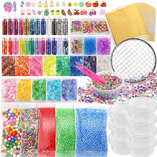 Holicolor 110pcs Slime Stuff Slime Add Ins Slime Making Supplies, Slime Charms, Foam Balls, Fishbowl Beads, Glitter Sequins, Shells, Candy Slime Charms, Slime Containers for Slime Party for Girls Boys