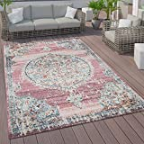 Paco Home In- und Outdoor-Teppich, Kurzflor Mit Orient Design In versch. Farben und Größen, Grösse:80x150 cm, Farbe:Pink