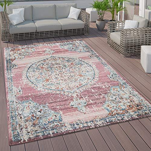 Paco Home In- und Outdoor-Teppich, Kurzflor Mit Orient Design In versch. Farben und Größen, Grösse:140x200 cm, Farbe:Pink