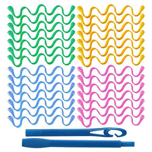 30-teiliges Haar-Lockenwickler-Styling-Kit, Haar-Lockenwickler im Wellenstil Spiral-Locken ohne Hitze Haar-Lockenwickler mit Styling-Haken für Frauen Langes Haarn, 4 Farben (30 cm / 11,8 Zoll)