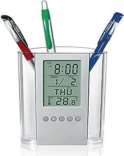 AlleTechPlus Digital Desk Pen Pencil Holder LCD Alarm Clock Thermometer Calendar Display for Home Office School [Back to School]