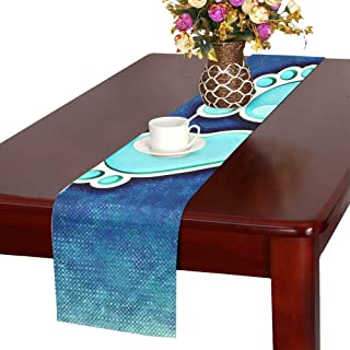 Baby Feet Blue Ten Cute Child Newborn Baby Feet Table Runner, Kitchen Dining Table Runner 16 X 72 Inch For Dinner Parties, Events, Decor