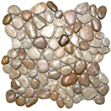 Glazed Berry Pebble Tile 1 sq.ft. (Mesh Mounted)