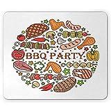BBQ Party Mouse Pad, Salchicha de Carne y Pescado con Marcas de Parrilla Arreglo Colorido con temática de Fiesta en el Patio Trasero, Mousepad,