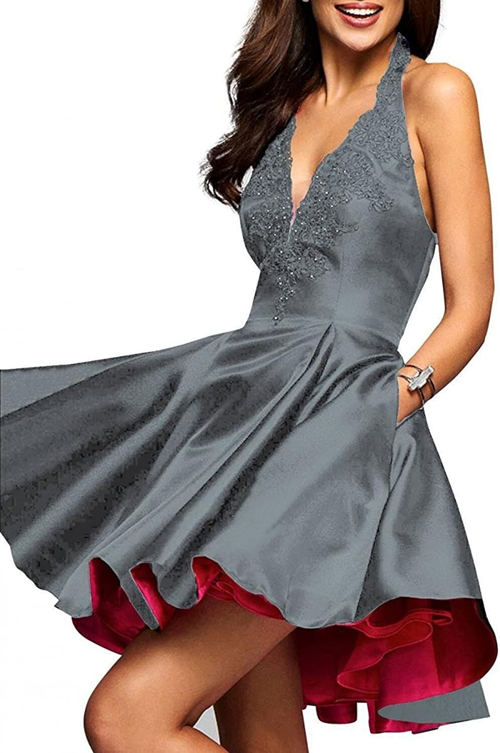Dannifore VNeck Aline Satin Homecoming Dresses Short Party Evening Dress Backless