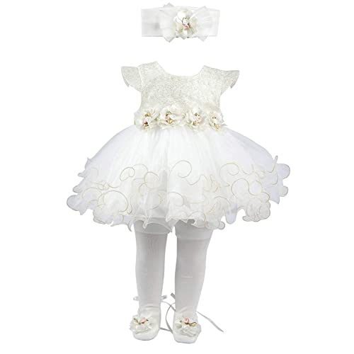 2e1bd68c4 Taffy Baby Girl Newborn Gold Glitter Floral Dress Gown 6, White, Size 0-