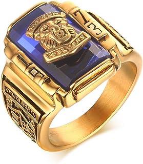 خاتم VNOX من الفولاذ المقاوم للصدأ مطلي بالذهب عيار 18 قيراط حجر الراين الأحمر 1973 والتون تايجرز للرجال ، مقاس 7-11