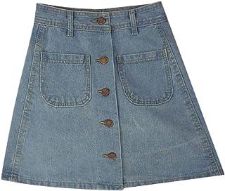 Women's Button A-line Denim Skirt High Waist Pockets Jean Skirt