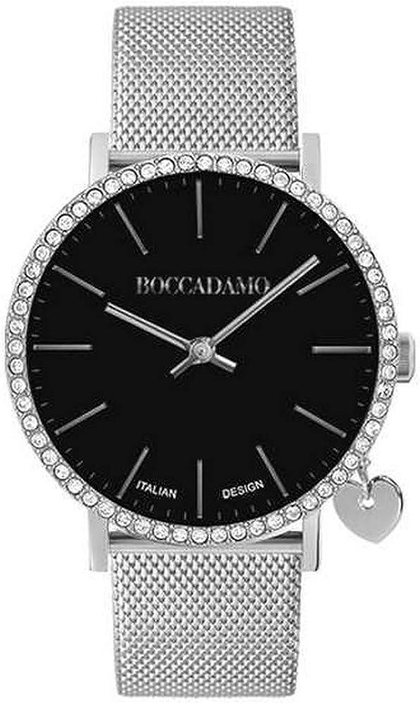 Orologio boccadamo per donna, cinturino in acciaio cassain metallo,lunetta in swarovski e charm laterale MY020