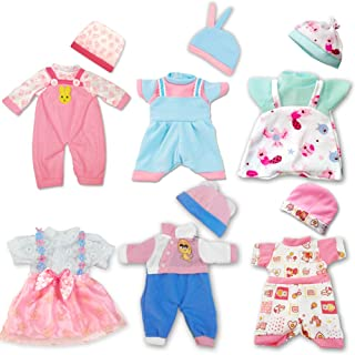 ARTST Doll Clothes,12 inch Baby Doll Clothes 6 Sets Include 5 Hats for 10 inch Dolls /11 inch Baby Dolls/ 12 inch Baby Dolls