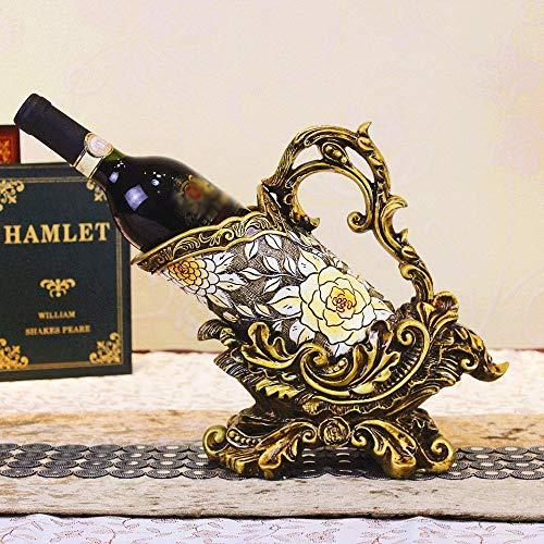 Titular de la Botella de Vino de la Vendimia con la manija Europea Retro Alivio de Oro Base Resina Estante del Vino titulares encimera de Almacenamiento portátil Estante Decorativo Libre de pie