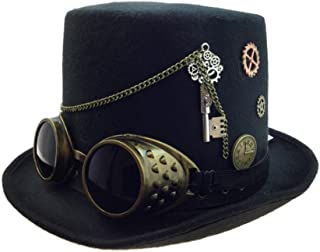 Black Deluxe Steampunk Top Hat Adult Victorian Key Gears Goggles Costume Acces.