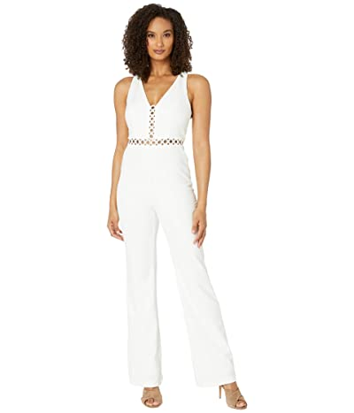 Adrianna Papell Racerback Wide Leg Jumpsuit (Ivory) Women