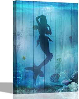 Canvas Wall Art Teal Blue Mermaid Painting Sea World Pictures, Modern Seashell Coral Seascape 16