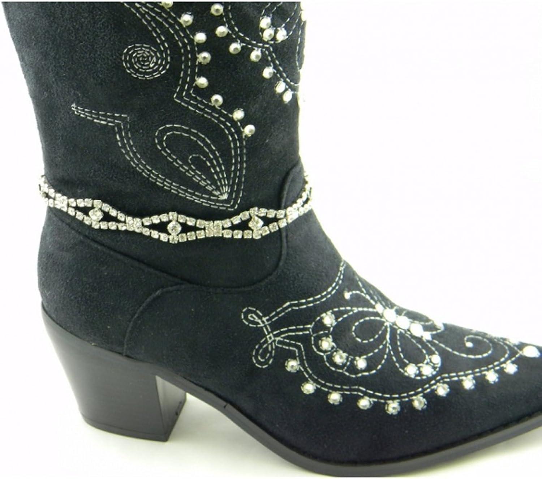 Boot Chain Rhinestones in Designer Fashion Wavy Twisted 8 Design
