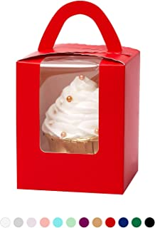 Yotruth True Red Individual Cupcake Boxes 50 Sets with Window Insert and Handle (Classic Series)