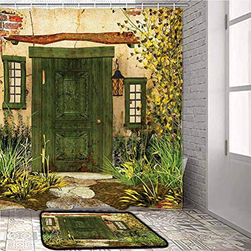 alisoso Rustic Shower and Window Curtain Sets Cottage Door Overgrown Bushes Grass Tree Garden Brick Fairy Tale Countryside Indoor Throw Area Rug for Living Room Kids Room Green Ivory Yellow