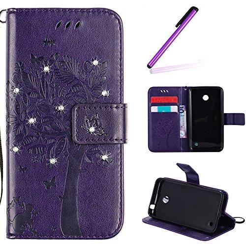 EMAXELERS Nokia Lumia 630 Hülle PU Lederhülle Bookstyle Handyhülle Flip Glitzer Asche Brieftasche Bumper mit Kartenfächer Wallet Tasche Etui für Nokia Lumia 630/635,Diamond Purple Wishing Tree
