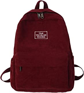 Modana Corduroy Backpack Retro Solid Color Casual Daypack Shoulder Bag for Women Girl and Student…