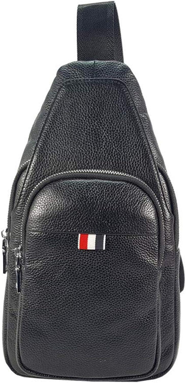 AFCITY Mnner Echtes Leder Brusttasche Freizeit Umhngetaschen Weichem Leder Umhngetasche Erarbeiten Reiserucksack Sling Brusttasche (Farbe   Schwarz)