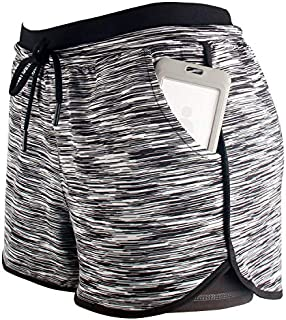 RIBOOM Women Workout Running Shorts, Two in One Active Yoga Gym Sport Shorts with Pockets