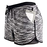 RIBOOM Women Workout Running Shorts 2 in 1 Active Yoga Gym Sport Shorts with Pockets Black White