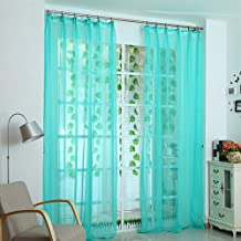 Decdeal Banquet Door Window Colorful Curtain Romantic Pure Color Glass Yarn Flimsy Drape Sheer Scarf Valances Curtains