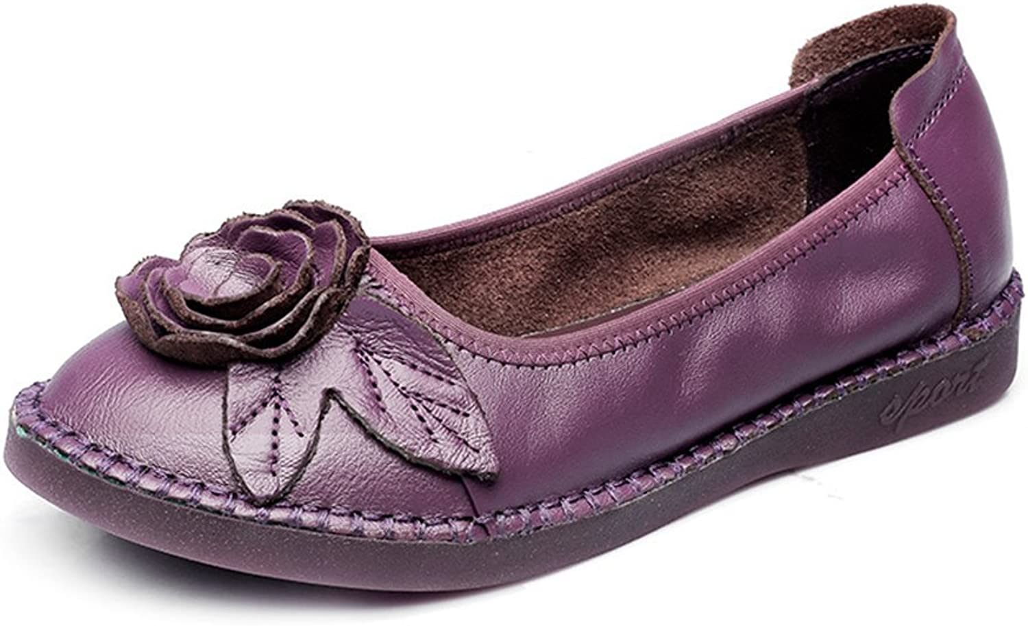 Btrada Women's Flower Slip On Loafers shoes Round Toe Casual Driving Moccasins Flat Ballet Boat shoes