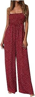 Women Jumpsuit Sunflower Dot Print Jumpsuit Sleeveless Mono Mujer Largo Elegante Clubwear Wide Leg Pant