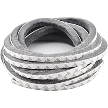 T/&B 2Pcs Self-Adhesive Pile Weatherstrip for Windows /& Doors 3//8-Inch x 3//8-Inch Grey 2, 16.5 ft // 5m