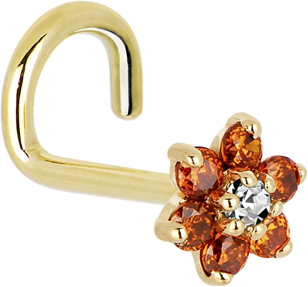Solid 14k Yellow Gold Orange Max 40% OFF and Zirconia Lef Flower Cubic Clear Challenge the lowest price